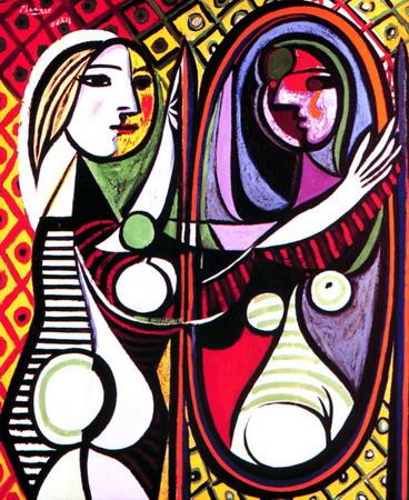 Garota diante do espelho obra de Picasso
