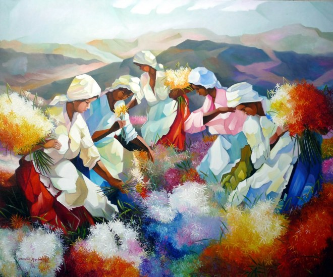 Colheita de flores do campo.Damião Martins