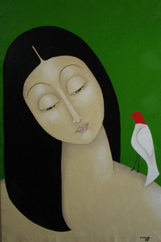 Tela-Menina-com-Pásssaro de Esther Silva, pintora maranhense