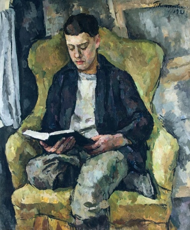 Portrait of Mikhail Konchalovsky, the artist's son, sitting in an armchair 1921
